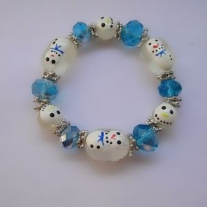Christmas Painted Snowman Stretch Bracelet